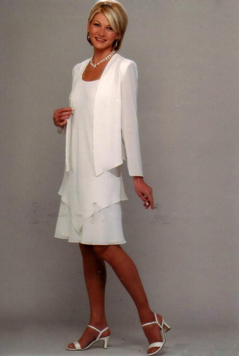 New Arrival Mother of the groom Dress Formal Gown white Evening Dresses Wedding Party Dresses Knee Length off Bride Long Sleeve(China (Mainland))