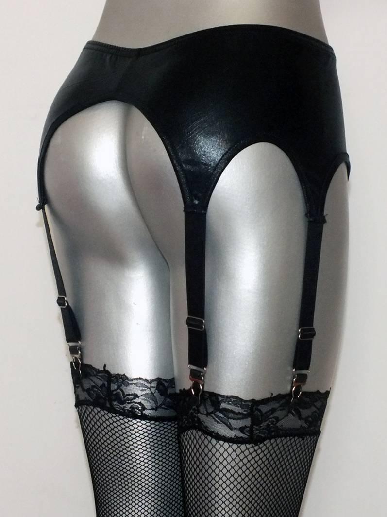 Womens black sexy metallic Broadside faux leather latex Garter Belt Suspender set for stockings clubwear lingerie