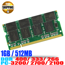 Brand ! Laptop Memory Ram SO-DIMM DDR1 DDR 400 333 MHz / PC-3200 PC-2700 200 PINS 512 MB 1 GB For Sodimm Notebook Memoria RAMS