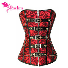 Dear Lover Women Festive Red Overbust Corselt Slimming Waist Jacquard Corset Top with G-string LC5275 steampunk sexy lingerie