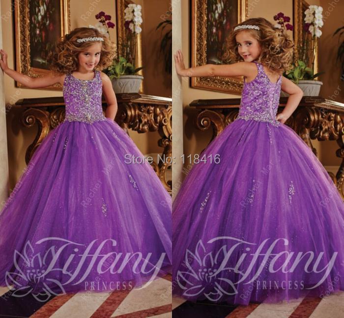 2015 Longo Purple Beaded Organza Ball Gown Flower Girl Dress Pageat Dresses Girls Custom Plus Size - Rachel mar's store