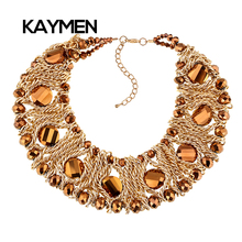 New Arrival Fashion Gold Plated Chains Handmade Crystal Statement Necklace Bijoux Jewelry 4 Colors Chokers Necklaces for Women(China (Mainland))