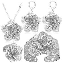 U7 בציר גדול פרח תכשיטי סטי זהב צבע שרשרת קאף צמיד עגילי טבעת כלה חתונה תכשיטים לנשים מתנה s56(China)