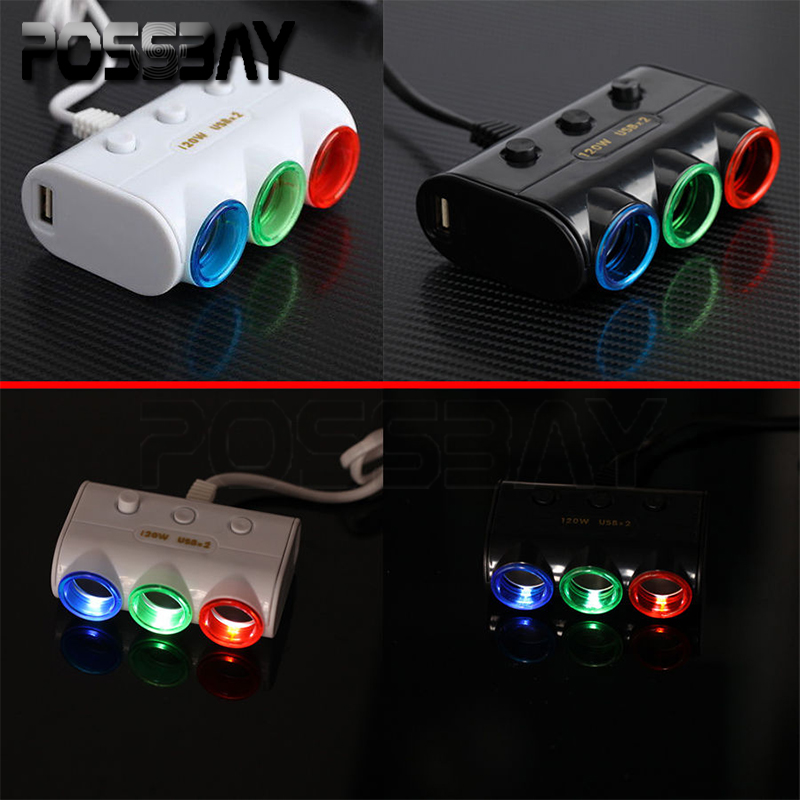 -90% OFF One Piece 3 Way Triple Led Car Cigarette Lighter Socket Splitter Charger Power Adapter 2 USB(China (Mainland))