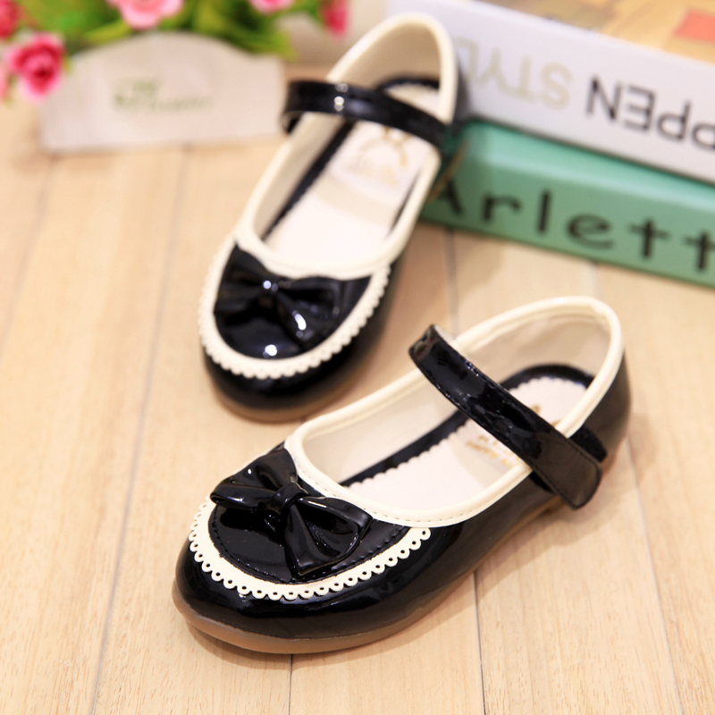 Newest Spring&Autumn Children Flat Shoes Pu Leather Velcro Performance Shoes Bow Chaussure Fille Black School Shoes For Girls(China (Mainland))