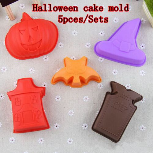Halloween cake decorating kit Pumpkin Grave Haunted House Bat Witch Hat 5pcs/Sets silicone cake pop mold free shipping(China (Mainland))
