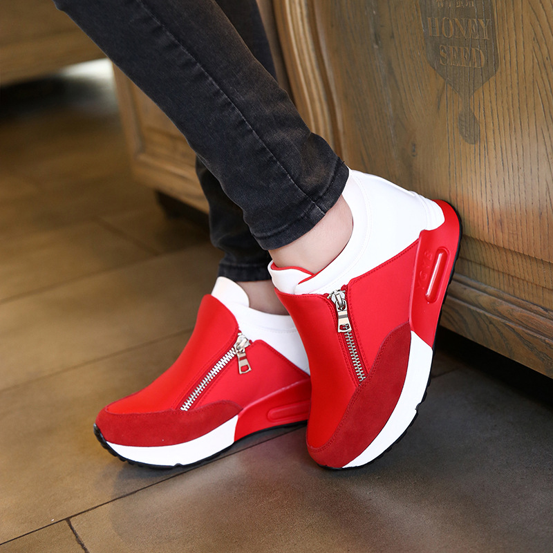 Fashion 2016 Brand Women Casual Shoes Zipper Hight Increasing Breathable Women Walking Flats Shoes Spring Autumn