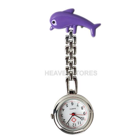 Dolphin Nurse Table Pocket Watch with Clip Brooch Chain Quartz Portable hv3n(China (Mainland))