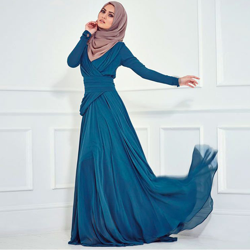 Fashion Turkish Islamic Clothing Women Party Evening Gowns Long Sleeve ...