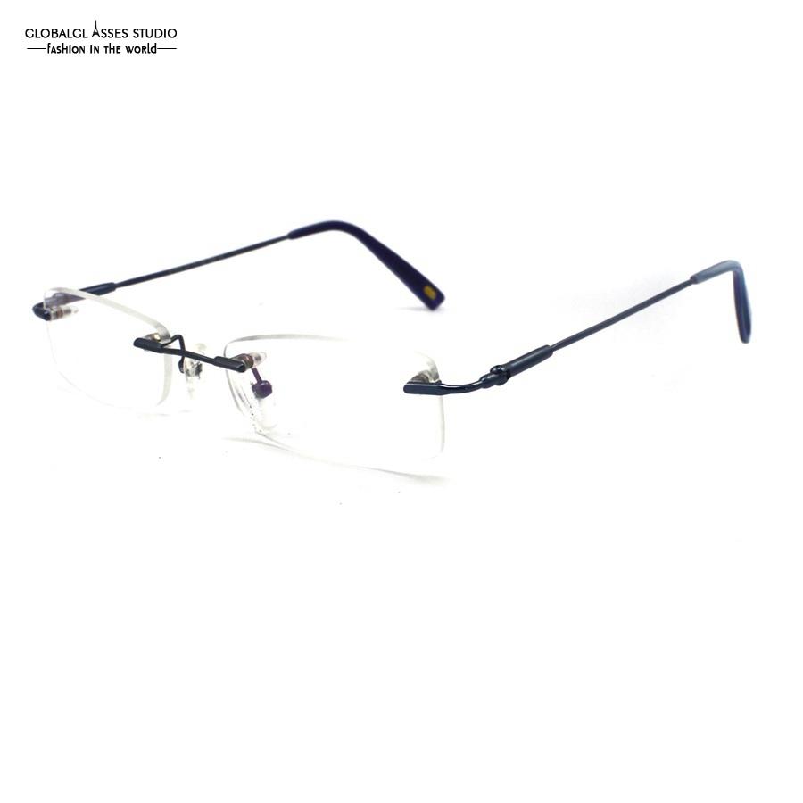 cheap eyeglasses online odos  Vintage Rimless Slim Metal Eyeglasses Men Matt Blue Flexible Memory Frame  High Quality Rx Optical Glass
