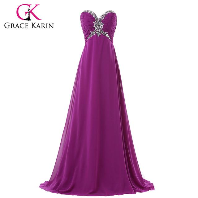 Длинное вечернее платье фиолетовый ланге в полной мере грейс карин 2016 милая шифон ...