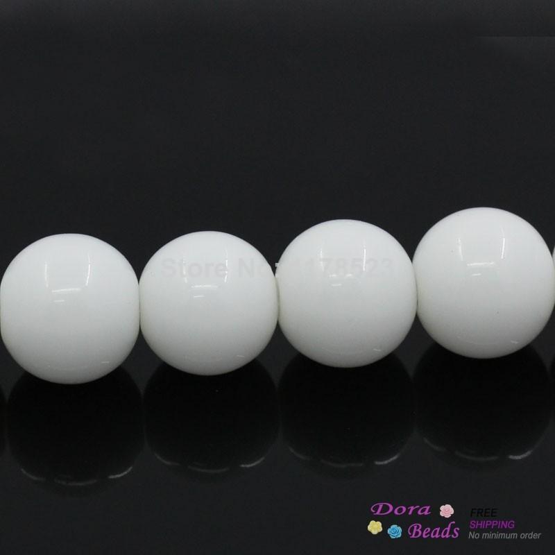 "(Grade B) Synthetic Porcelain Loose Beads Ball Round White 10mm Dia,38cm(15"")long,1 Strand(approx 40PCs) (B26571)8seasons(China (Mainland))"