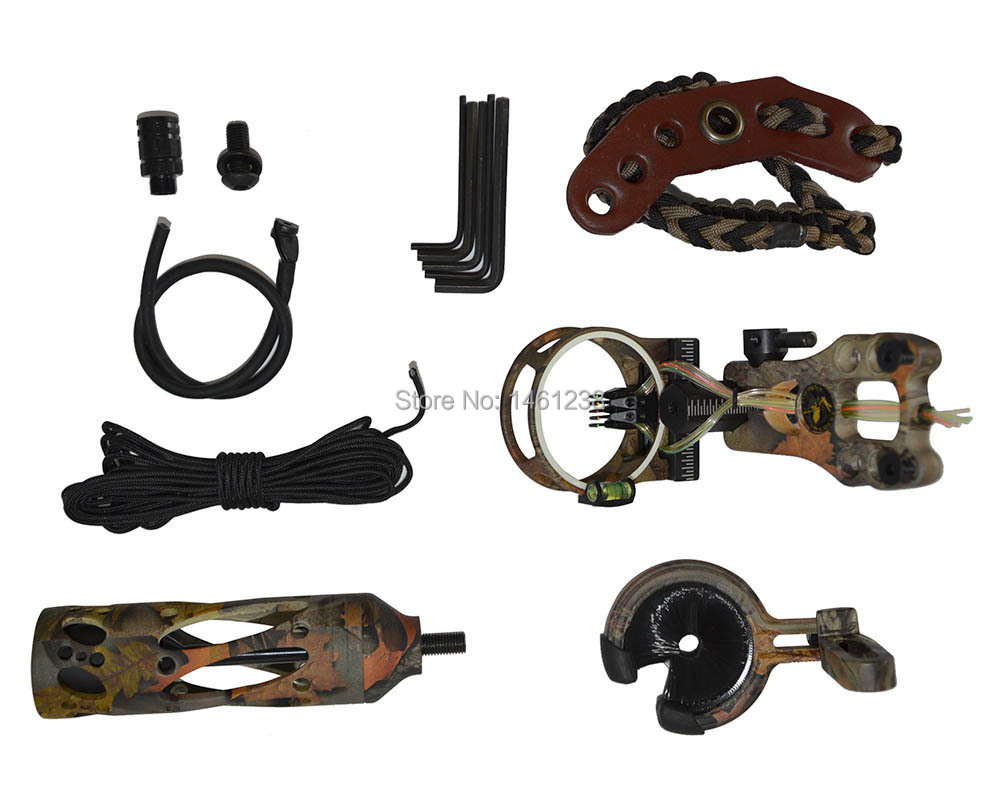 TP2000 high-grade compound bow accessaries archery bow stabilizer+arrow rest+bow sight+peep sight+bow slings+allen key hunting