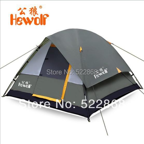 High Quality Waterproof Fiberglass Double Layer 2-3 Outdoor Camping Pop up Hiking Hewolf Beach Tent 2014 New<br><br>Aliexpress