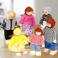 Mini Wooden Toy Dollhouse Family Member Dolls Set Figures Dressed Characters Children Kids Girl Playing Doll Kawaii (China (Mainland))