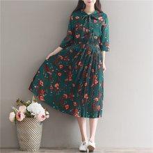מורי ילדה סתיו אביב נשים ארוך שמלה פרחוני הדפסת שלושה רובע שרוול Vestidos מזדמן רופף קפלים שמלות(China)