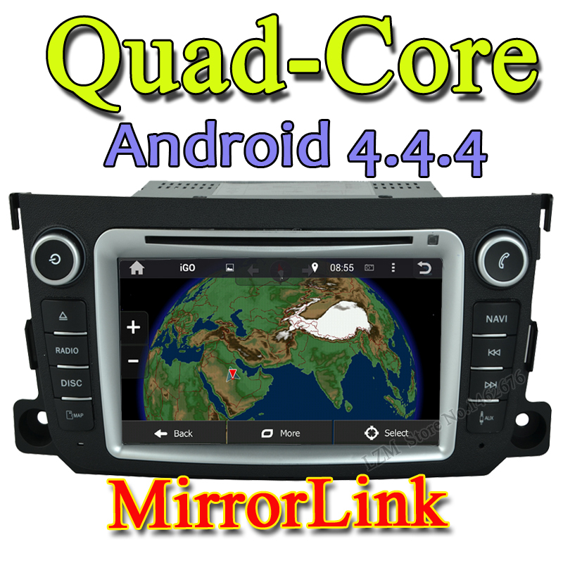 Quad-Core 2 din Android 4.4 Car DVD player GPS+Wifi+Bluetooth+Radio+1.6GB CPU+DDR3+3G+car pc+aduio for Benz Smart 2012 2013(China (Mainland))