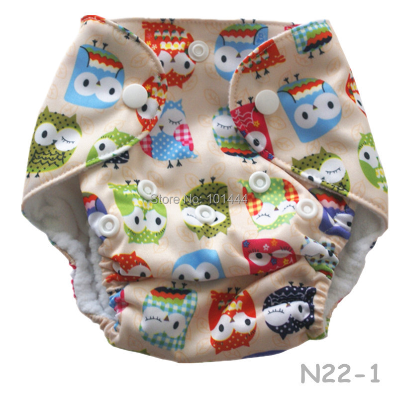 1pc/lot Beige Owls Pattern Reusable Newborn cloth diaper ,single rows snap 0-3 monthes babies - Yiwu Oushang Commodity Co., Ltd. store
