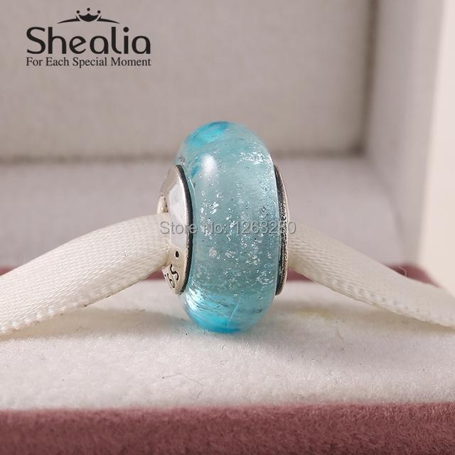 Весна 2015 новый стерлингового серебра 925 эльза подпись цвет муранского стекла бусы для женщин известный бренд diy браслеты SHEALIA DS075