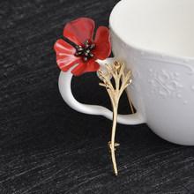 3D Antik Merah Poppy Bunga Squid Jarum Kerah Korsase Emas Perak Jarum Hitam Kaus Lencana Antik Perhiasan Hadiah untuk wanita(China)