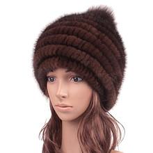 Russian Real Knitted Mink Fur Skullies Beanies Hats Fox Fur Ball Winter Genuine Women Fur Caps Female Headgear 1063(China (Mainland))