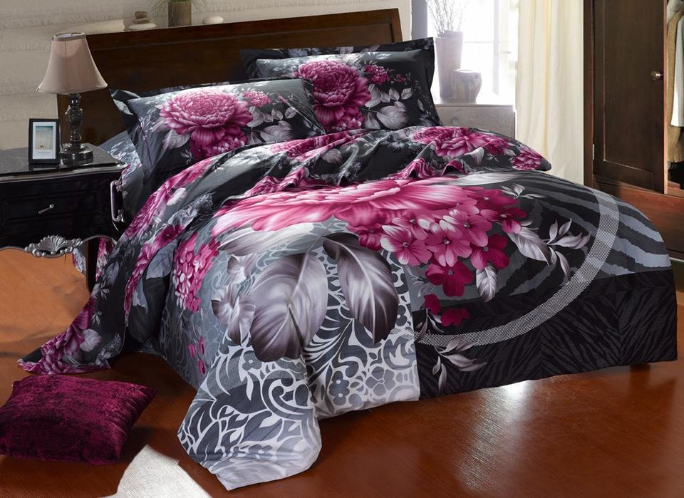New Beautiful 4PC Cotton forter Duvet Doona Cover
