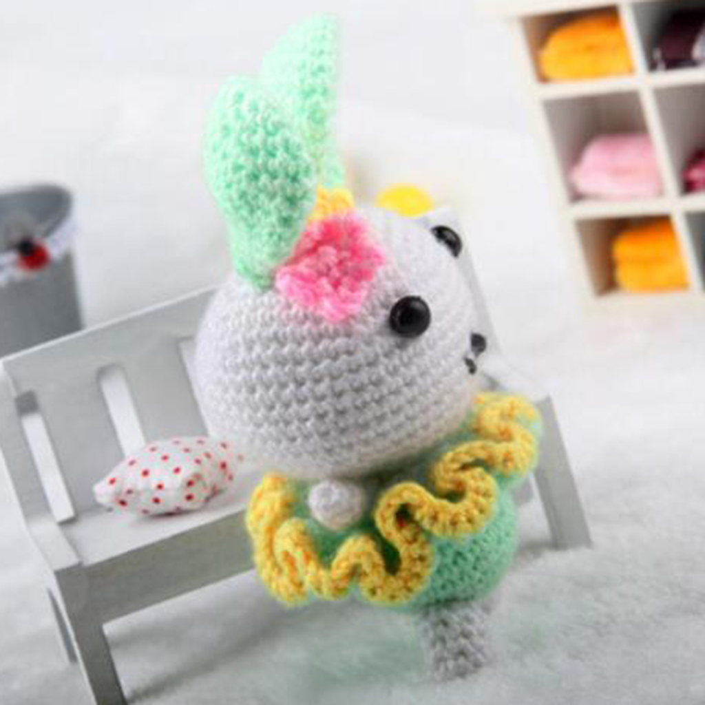 Green Rabbit Amigurumi Crochet Kit 15cm High DIY Crochet Knitting Kit Stuffed Doll Materials