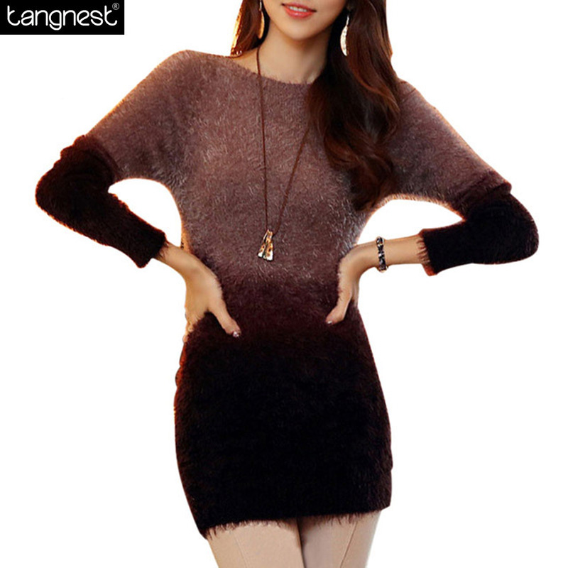 TANGNEST Soft Mohair Sweater 2016 Women Knitted Sweaters Contrast Pullovers Casual Patchwork Pullover Knitwear Jumper WZM256(China (Mainland))