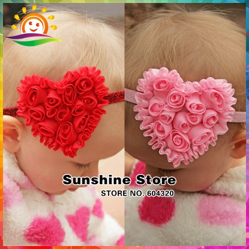 Newborn girl baby headband glitter valentine hair bows;Heart flower accessories bandeau bebe infant #2B2299 10 pcs/lot(3 colors)(China (Mainland))