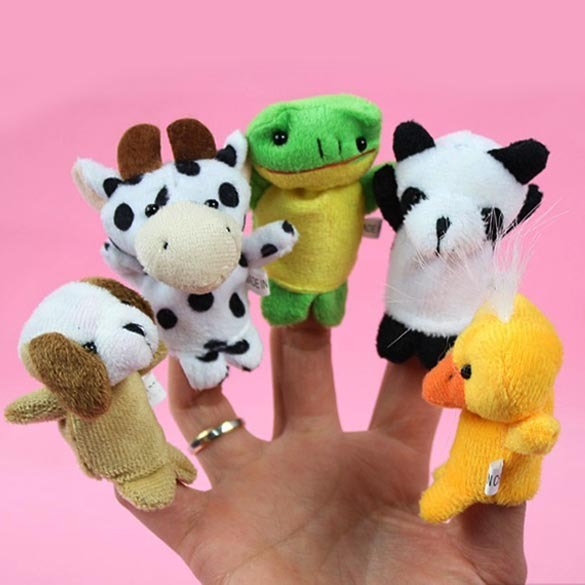 10pcs Cartoon Biological Animal Finger Puppet Plush Toys Child Baby Favor Dolls Baby Kids Children Gift Toy