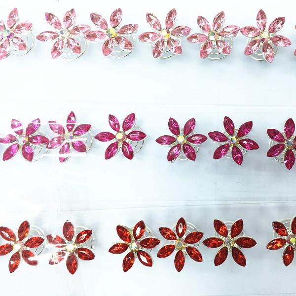 12PCS/LOT New Fashion Crystal Wedding Bridal Hair Pins Twists Coils Flower Swirl Spiral Hairpins Jewelry Accessories tiara(China (Mainland))