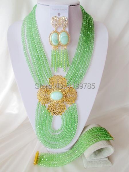 Fashion Nigerian African Wedding Beads Jewelry Set ,Crystal Necklace Bracelet Earrings Set A--5621<br><br>Aliexpress