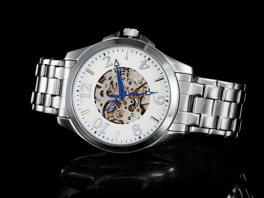GOER марка механическая Автоматическая мужчины Наручные часы Скелет кожа мужские часы Световой цифровой водонепроницаемый черный белый