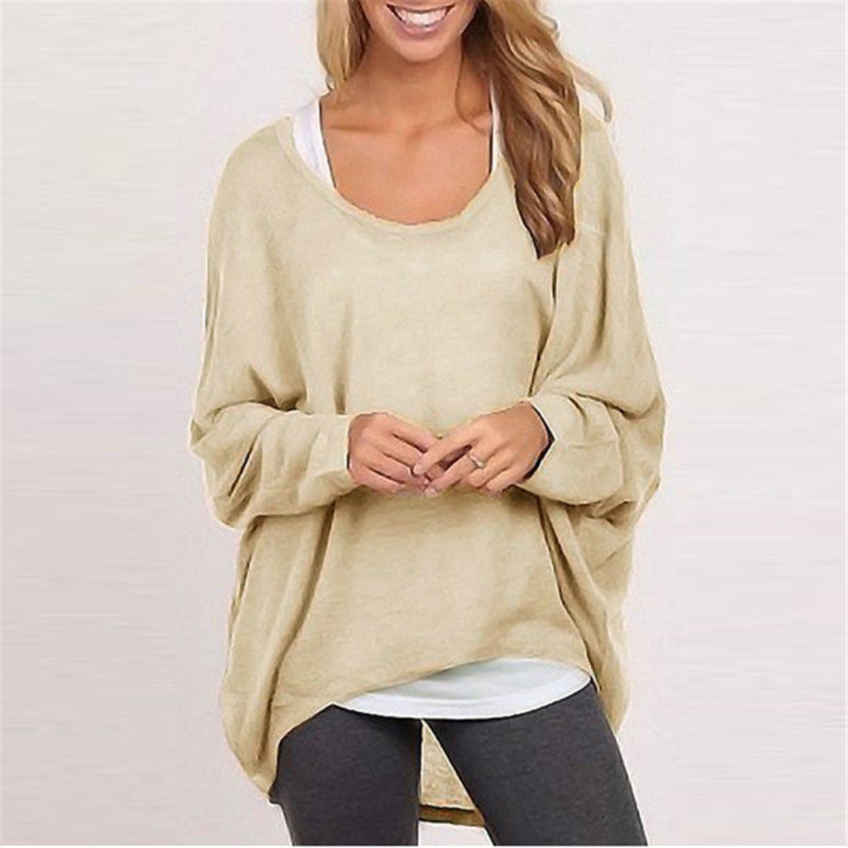Fashion Spring Autumn Women Blouse Batwing Long Sleeve Casual Loose Solid Top Shirt Sweater Plus Size Blusas Femininas 9 Colors
