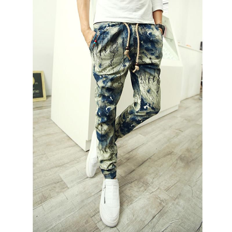 Homens Harem calças de algodão Floral faixa calças de cintura calças Jogger calças calças Hip Hop