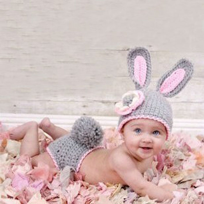 Cute Baby Infant Knitted Clothing Set Rabbit Costume Crochet Photo Props 0-9 Month Newborn Photography Baby Hats Caps Anne(China (Mainland))