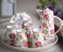 Fashion Bone China Ceramic Coffee Tea Water Cup And Pot 7 Peices Sets European High Quality
