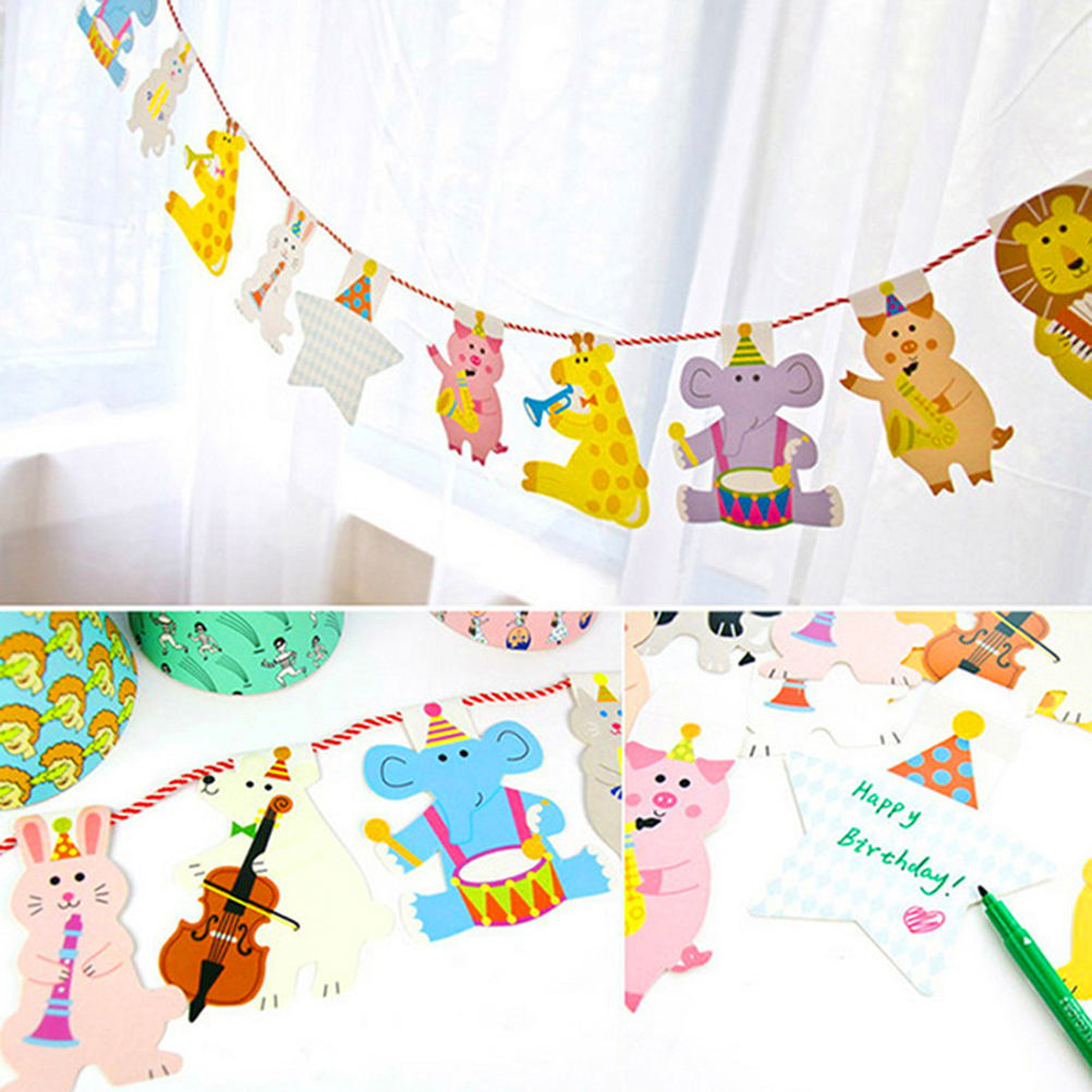 15Pcs/Pack 2M Happy Family Baby Shower Cartoon Animal Garland Striped Paper Flags Banner Decor Birthday Party Supplies For kids(China (Mainland))