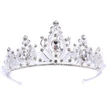 موضة جديدة الذهب التيجان التيجان الوردي كريستال الشعر مجوهرات حجر الراين الزفاف الملكة الأميرة تاج المرأة الزفاف إكسسوارات الشعر(China)