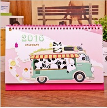 2016 Cartoon Panda Calendar Desktop Clendar Table Agenda Planner Calendario For Office School Supplies Gift Free Shipping 3007(China (Mainland))