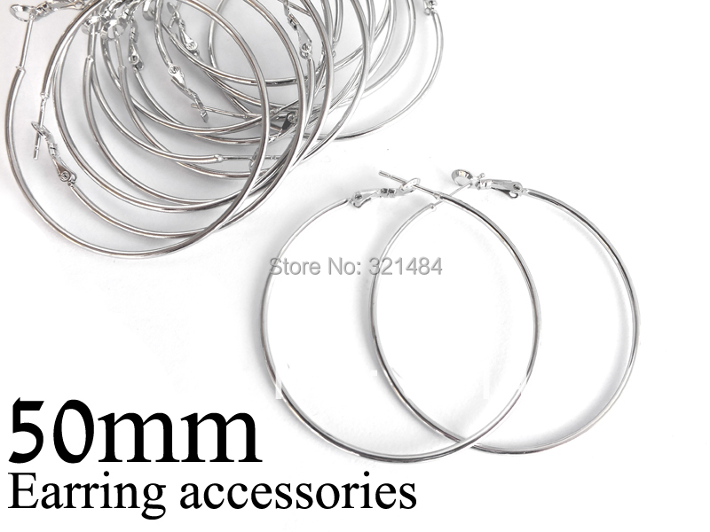 Bulk 500pc lot rhodium plated 50mm french circle hooks earring backs hoop earring findings for jewelry
