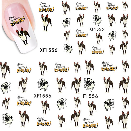 1 sheet Cute Dog Nail Art Water Transfer Sticker DIY Foils Polish Beauty Wraps Decals Decoration Manicure Tools XF1556 - Sara Products store
