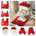 Hot Sale New Year Santa Christmas Toilet Seat Cover and Rug Bathroom Set Christmas Decorations For