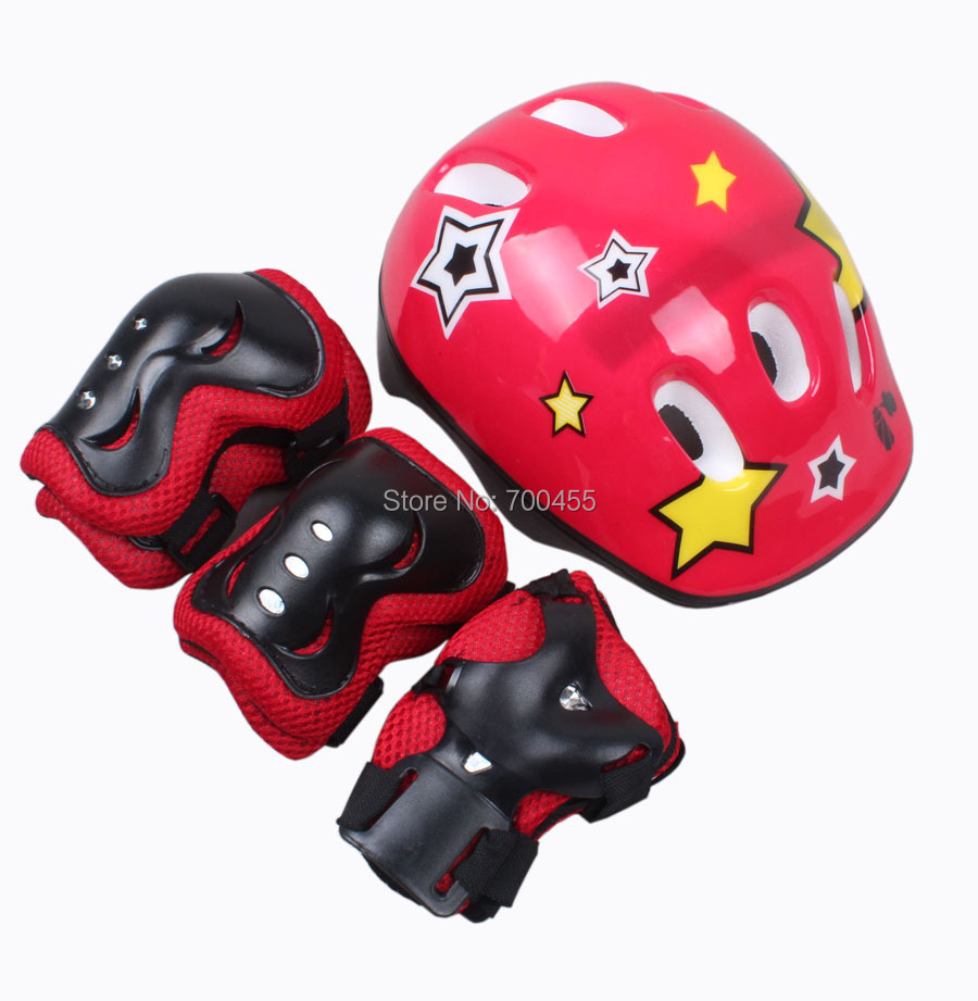 new child ride helmet pulley skateboard mountain bike bicycle cycling children knee pad together - Perfect Sunshine store