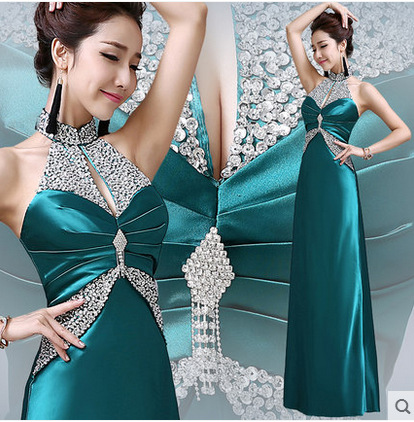 Real Sample 2015 Summer Women Sheath Halter Turquoise Gold Taffeta Long Crystal Evening Dresses Plus Size Vestidos Z012 - Forever Love Wedding Dress Shop store