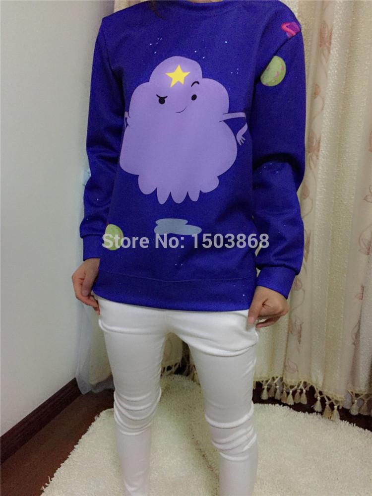 The New Harajuku Casual Women Hoodies Digital Print Purple Cloud Sweatshirt Casual Tracksuit Women Sports Suit(China (Mainland))