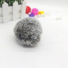 8 cm Pompom De Pele Macia Suave Faux Rex Coelho Bola De Pêlo DIY para Mulheres Saco Anel Chave Do Carro Chaveiro Pingente jóias Diy Chaveiros(China)