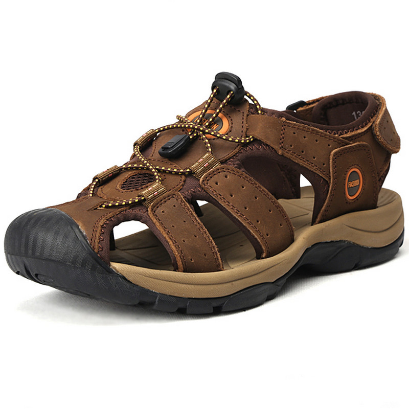 Гаджет  39-47 Plus Size Men Sandals Genuine Leather Fashion Summer Shoes Men Slippers Big Size Men