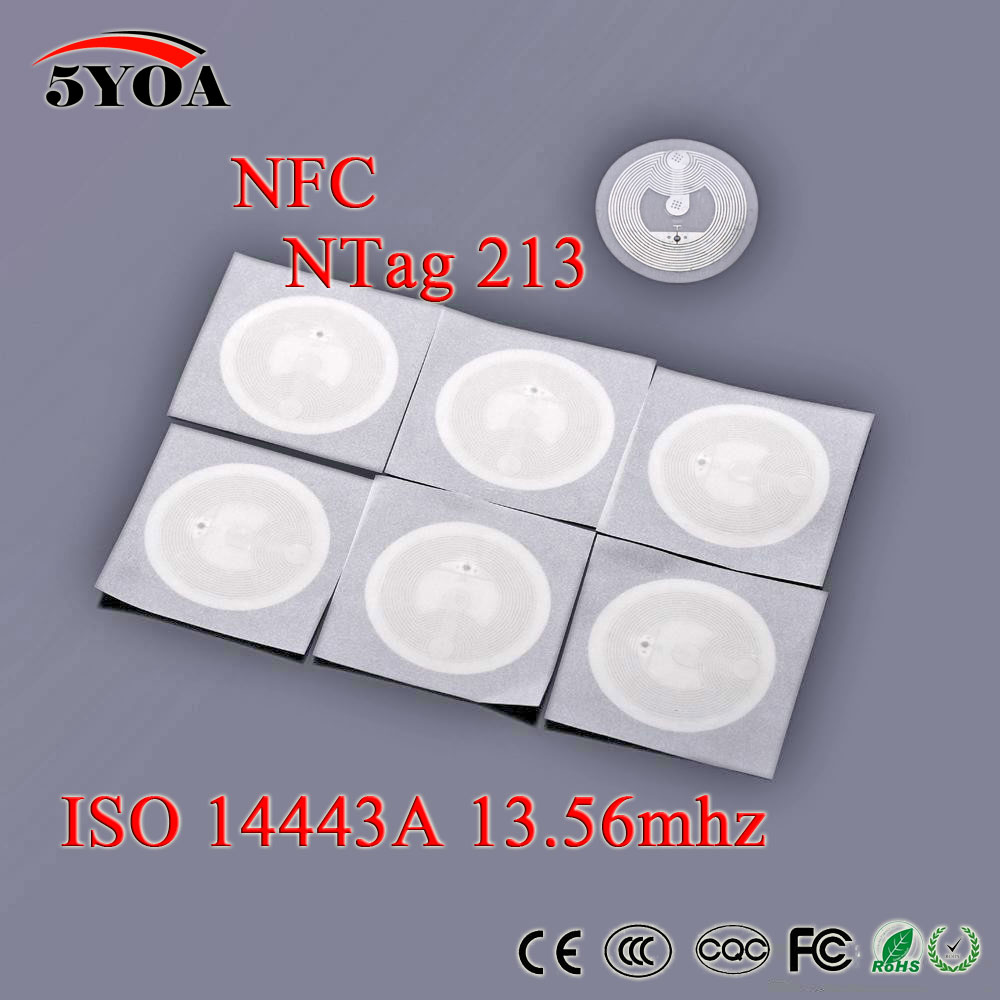 10pcs/Lot NFC TAG Sticker 13.56MHz ISO14443A NTAG 213 NFC Sticker Universal Lable RFID Tag for all NFC enabled phones