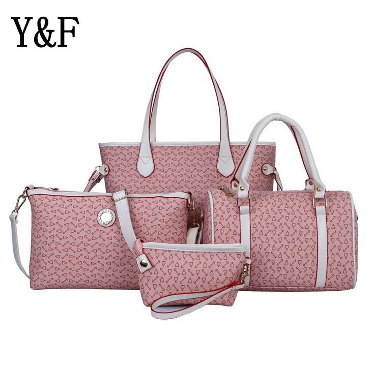 Fashion trendy handbag 4 pieces/set bones printed totes boston PU Shoulder bags messenger bags hand Bag Composite Bag F110(China (Mainland))